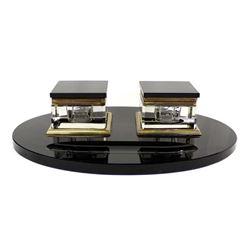 Vintage Art Deco Black Marble & Glass Inkwell Set