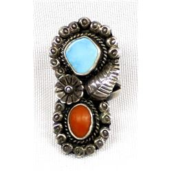 Navajo Sterling Turquoise Coral Ring, Size 7