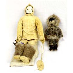 2 Vintage Native American Eskimo Dolls