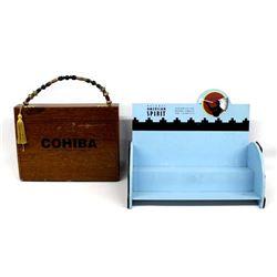 Cohiba Cigar Box Purse & Natural Spirit Wood Shelf
