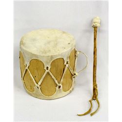 Native American Hide and Wood Drum with Beater