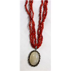 Red Coral & White Agate Pendant Necklace