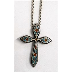 Large Vintage Chip Inlay Cross Pendant Necklace