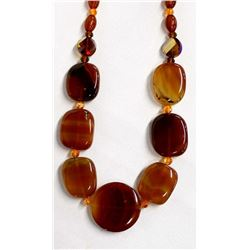 Red Agate Bead Necklace by Kathy Kills Thunder