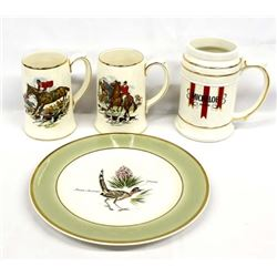 Roadrunner Plate and 3 Steins