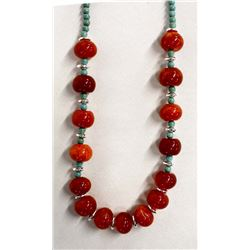 Beaded Turquoise and Asian Orange Agate Necklace