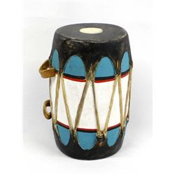 Native American Cochiti Hide and Wood Drum