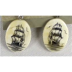 Pair of Scrimshaw Clipper Ship Earrings