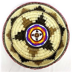 Large Hand Beaded Basket by Kathy Kills Thunder
