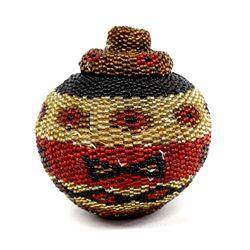 Ethnic Beaded Pine Needle Basket