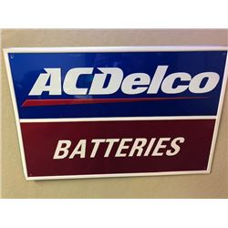 NO RESERVE AC DELCO BATTERIES VINTAGE TIN SIGN