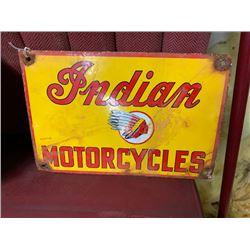 NO RESERVE ORIGINAL INDIAN MOTORCYCLE SIGN VERY RARE