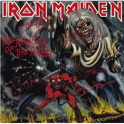 Iron Maiden Band Signed The Number Of The Beast Album