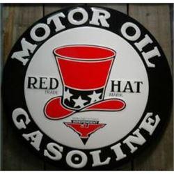 """24 """"METAL VINTAGE RED HAT GASOLINE SIGN / $169.00"""