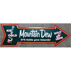 VINTAGE NEW MT DEW ARROW ADVERTISING SIGN