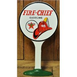 VINTAGE FIRE TEXACO FIRE CHIEF CAST IRON DOOR STOPPER / $69.00