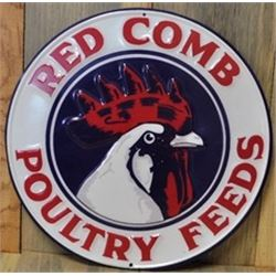 Metal Sign, Red Comb Poultry Feeds Round, Embossed/ $49.99