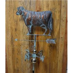 2D Cow Weathervane, Handcrafted Metal, Copper Patina Finish/ $249.00