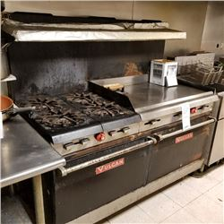 "VULCAN 4 GAS BURNER STOVE/60"" X 32"" X 60"" HEIGHT/NEW COMP APPROX $4,500.00"