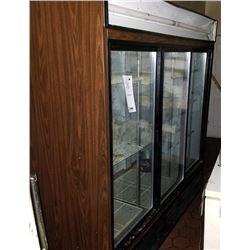 """3 DOOR UPRIGHT COOLER/72"""" X 30"""" X 78"""" HEIGHT/GLASS SLIDING DOORS"""