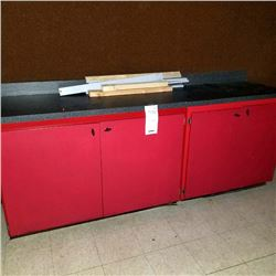 8FT RED COUNTER WITH STORAGE INCLUDES SMALLER, MATCHING CABINET/*SEE PHOTOS*