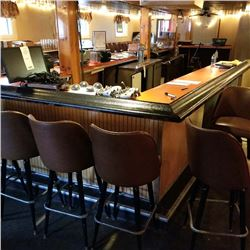 LARGE 30 SEAT BAR/APPROX 52 FEET TOTAL/SOLID WOOD CONSTRUCTION WITH A FORMICA TOP APPLIED