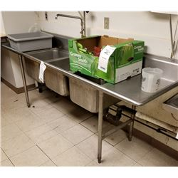 8' STAINLESS STEEL 3 BOWL SINK