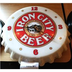 "IRON CITY BEER CLOCK/ APPROX 19"" DIAMETER"