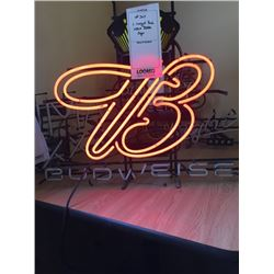 "LARGE BUDWEISER NEON SIGN/APPROX 24"" HIGH X 30"" WIDE"