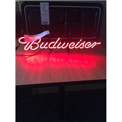 "SMALL BUDWEISER NEON SIGN/APPROX 8"" HIGH X 30"" WIDE"