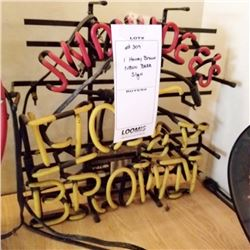 "HONEY BROWN NEON BEER SIGN/APPROX 17"" HIGH X 18"" WIDE"