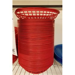 (42) RED OVAL PLASTIC SERVING BASKETS LOT