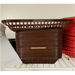 (30) SQUARE BROWN PLASTIC SERVING BASKETS LOT