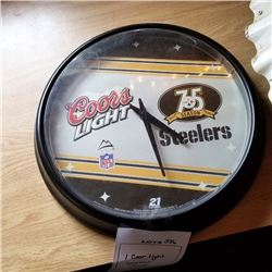 "COORS LIGHT PITTSBURGH STEELERS CLOCK/ APPROX 14"" DIAMETER"