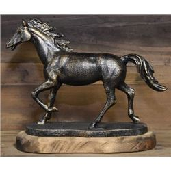 ANTIQUE CAST RUNNING HORSE ON WOOD BASE / $129,00
