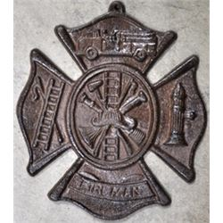 ANTIQUE  CAST IRON FIREMAN'S WALL LOGO PLAQUE / $89.00
