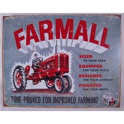 VINTAGE FARMALL AGED  METAL SIGN / $ 39.00
