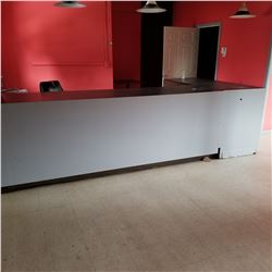 """16FT """"L"""" SHAPED COUNTER WITH STORAGE/116"""" LENGTH X 30"""" WIDTH & 72"""" LENGTH X 30"""" WIDTH"""