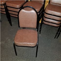 DINING CHAIRS/BROWN VINYL WITH STEEL FRAMES