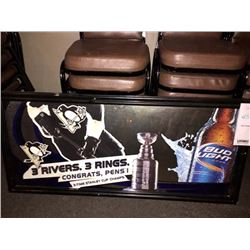 "BUD LIGHT/STANLEY CUP CHAMPS/3 RIVERS, 3 RINGS SIGN/ APPROX 24"" HIGH X 51"" WIDE"