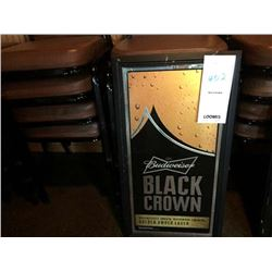 "BUDWEISER BLACK CROWN SIGNAGE/GOOD CONDITION/*SEE PHOTOS/ APPROX 30"" HIGH X 16"" WIDE"