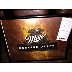 "MILLER GENUINE DRAFT LIGHTED SIGN/GOOD CONDITION/*SEE PHOTOS*/ APPROX 20"" HIGH X 25"" WIDE"