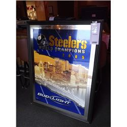 "STEELERS 2005 WORLD CHAMPIONS/BUD LIGHT SIGN/GOOD CONDITION/*SEE PHOTOS*/ APPROX 52"" HIGH X 40"" WIDE"