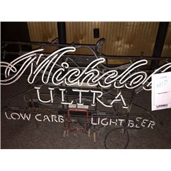 "MICHELOB ULTRA/LOW CARB LIGHT BEER NEON SIGN/*SEE PHOTOS*/ APPROX 25"" HIGH X 38"" WIDE"