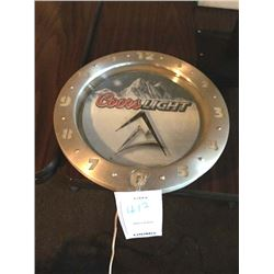 "COORS LIGHT ELECTRIC CLOCK/*SEE PHOTOS*/ APPROX 16"" DIAMETER"
