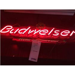 "BUDWEISER CLASSIC NEON SIGN/GOOD CONDITION/*SEE PHOTOS*/ APPROX 10"" HIGH X 35"" WIDE"