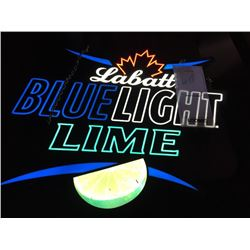 "LABATT BLUE LIGHT LIME NEON SIGN/GOOD CONDITION/*SEE PHOTOS*/ APPROX 21"" HIGH X 24"" WIDE"