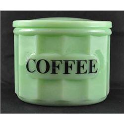 JADEITE LARGE COFFEE GLASS  CANISTER WITH LID / $49,99