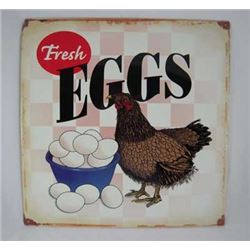 "VINTAGE AGED  PROCESSED METAL ""FRESH EGGS : : $35.00"