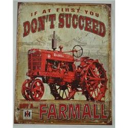 AGED METAL FARMALL TRACTOR SIGN $ 49.00